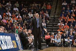 Virginia head coach Dave Leitao on the bench.  The Virginia Cavaliers men's basketball team defeated the Richmond Spiders 66-64 in the first round of the College Basketball Invitational (CBI) tournament held at the University of Virginia's John Paul Jones Arena in Charlottesville, VA on March 18, 2008.