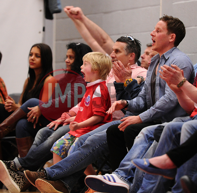 A young fan celebrates  - Photo mandatory by-line: Joe Meredith/JMP - Mobile: 07966 386802 - 11/04/2015 - SPORT - Basketball - Bristol - SGS Wise Campus - Bristol Flyers v Glasgow Rocks - British Basketball League