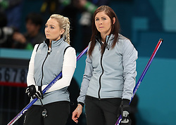 Great Britain's (left-right) Anna Sloan and skipper Eve Muirhead during the Women's Semi-Final against Sweden at the Gangneung Curling Centre during day fourteen of the PyeongChang 2018 Winter Olympic Games in South Korea.