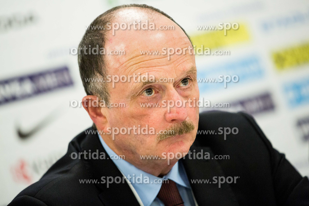 Dave Lewis, head coach of Belarus at press conference after the Ice Hockey match between Belarus and Slovenia at Day 2 in Group B of 2015 IIHF World Championship, on May 2, 2015 in CEZ Arena, Ostrava, Czech Republic. Photo by Vid Ponikvar / Sportida