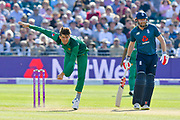 Shaheen Shah Afridi of Pakistan bowling during the third Royal London One Day International match between England and Pakistan at the Bristol County Ground, Bristol, United Kingdom on 14 May 2019.