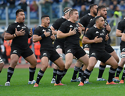 November 24, 2018 - Rome, Italy - TJ Perenara of the All Blacks leads the haka during the International Rugby match between the New Zealand All Blacks and Italy at Stadio Olimpico on November 24, 2018 in Rome, Italy  (Credit Image: © Silvia Lore/NurPhoto via ZUMA Press)