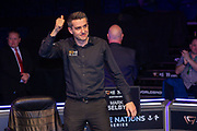All smiles and a thumbs up for the 2019 Scottish Open Champion Mark Selby at the World Snooker 19.com Scottish Open Final Mark Selby vs Jack Lisowski at the Emirates Arena, Glasgow, Scotland on 15 December 2019.