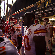 Kansas City Chiefs outside linebacker Justin Houston (50) shouted in the tunnel before the game against the San Diego Chargers on Sunday, November 22, 2015 at Qualcomm Stadium in San Diego, Calif. The Chiefs won, 33-3.