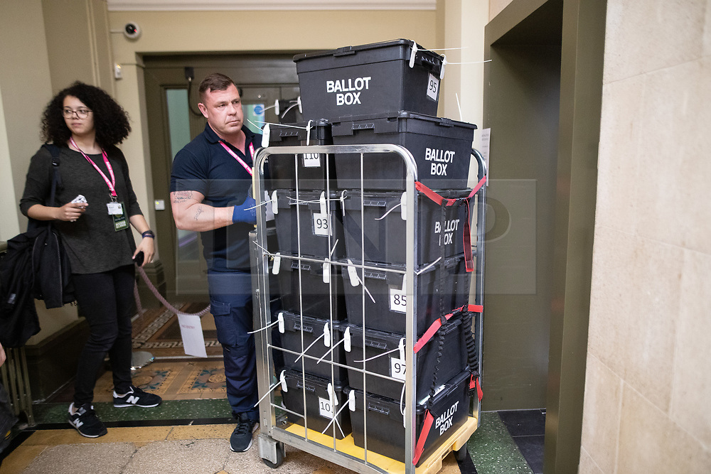 © Licensed to London News Pictures . 02/05/2019. Bolton, UK. Ballot boxes are taken away . The count for Bolton Council at Bolton Town Hall . The Labour Party are threatened to lose their majority on the council . Local council elections are taking place across the country . Photo credit: Joel Goodman/LNP
