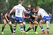 Hamish Watson tackles Tom Ellis during the Rugby Friendly match between Edinburgh Rugby and Bath Rugby at Meggetland Sports Compex, Edinburgh, Scotland on 17 August 2018.