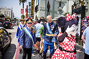 Hollywood, California - April 10, 2015: Blending in somewhat with the costumed Hollywood Walk of Fame celebrity impersonators, Micronational leaders and dignitaries tour the Hollywood Walk of Fame, Friday April 10, 2015. (L-R) Molossian Comodore Jonathan Miller, President Kevin Baugh, of The Republic of Molossia, and Grand Duke Travis from WestArctica and CalSahara. A small group of Micrcon 2015 attendees saw the sites in Hollywood and Disney Land the days before the convention Saturday.<br /> <br /> CREDIT: Matt Roth