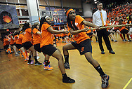 LOWER MAKEFIELD, PA - MARCH 22:  The girls orange team competes in Tug of War during Pennsbury High School's 66th annual sports nite at Charles Boehm Middle School March 22, 2014 in Lower Makefield, Pennsylvania. 11th and 12th grade students divide up into teams of black & orange (grouped by their physical education classes) and compete in a friendly rivalry through relays, skits, dances, artistic murals, cheers, and team organization. (Photo by William Thomas Cain/Cain Images)