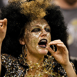 January 1, 2012; New Orleans, LA, USA; A New Orleans Saints fan in the stands during the first quarter of a game against the Carolina Panthers at the Mercedes-Benz Superdome. The Saints defeated the Panthers 45-17. Mandatory Credit: Derick E. Hingle-US PRESSWIRE