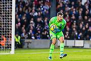 Mathew Ryan (GK) (Brighton) saves the ball during the Premier League match between Brighton and Hove Albion and Aston Villa at the American Express Community Stadium, Brighton and Hove, England on 18 January 2020.Matt Targett (Aston Villa)