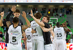 Players of Partizan celebrate during first semi-final match of Basketball NLB League at Final four tournament between KK Partizan Belgrade, Serbia and KK Buducnost Podgorica, Montenegro, on April 19, 2011 in Arena Stozice, Ljubljana, Slovenia. Partizan defeated Buducnost 62-58. (Photo By Vid Ponikvar / Sportida.com)