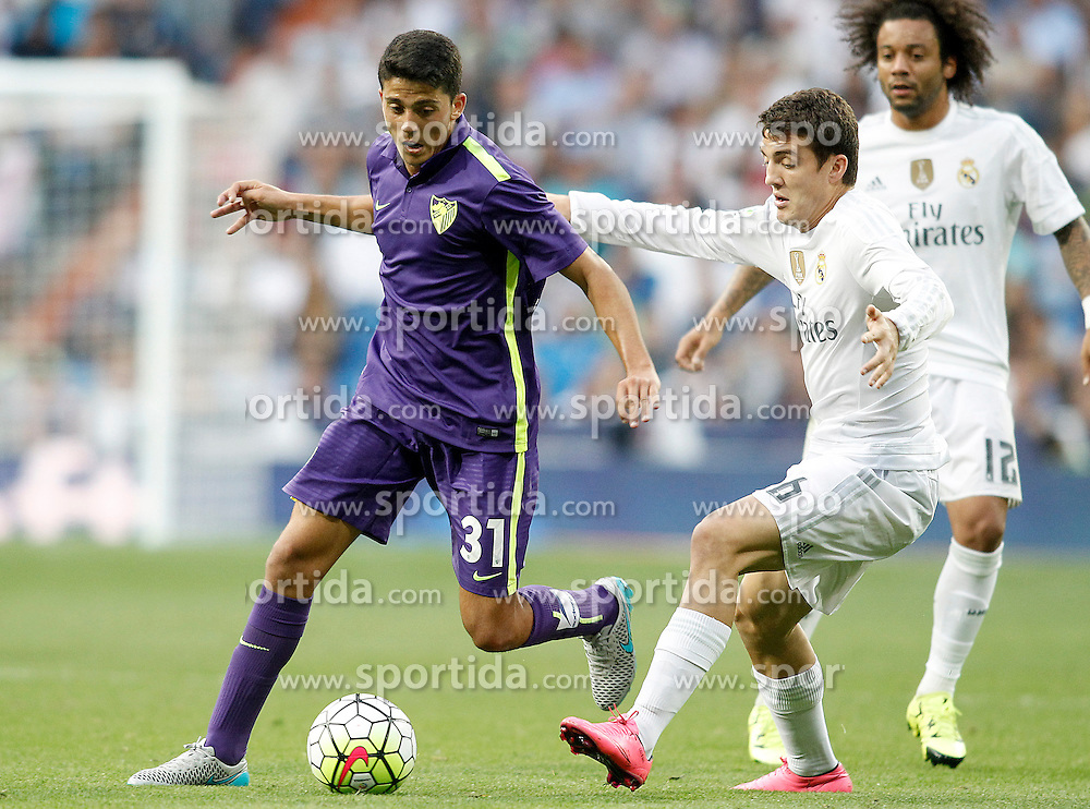 26.09.2015, Estadio Santiago Bernabeu, Madrid, ESP, Primera Division, Real Madrid vs Malaga CF, 6. Runde, im Bild Real Madrid's Mateo Kovacic (r) and Malaga's Fornals // during the Spanish Primera Division 6th round match between Real Madrid and Malaga CF at the Estadio Santiago Bernabeu in Madrid, Spain on 2015/09/26. EXPA Pictures &copy; 2015, PhotoCredit: EXPA/ Alterphotos/ Acero<br /> <br /> *****ATTENTION - OUT of ESP, SUI*****