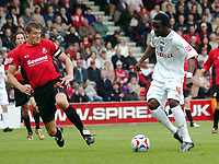 Photo: Kevin Poolman.<br />AFC Bournemouth v Brentford. Coca Cola League 1. 06/05/2006. Brentford's Sam Sodje gets through to score their first goal.
