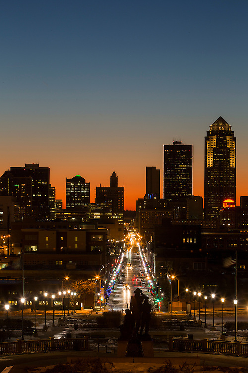 Skyline view of downtown Des Moines, Iowa, at sunset.