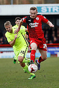 Crawley Town Midfielder Frankie Sutherland (24) takes the ball down to get himself into an attacking position for Crawley Town Football Club during the Sky Bet League 2 match between Crawley Town and Hartlepool United at the Checkatrade.com Stadium, Crawley, England on 19 March 2016. Photo by Andy Walter.