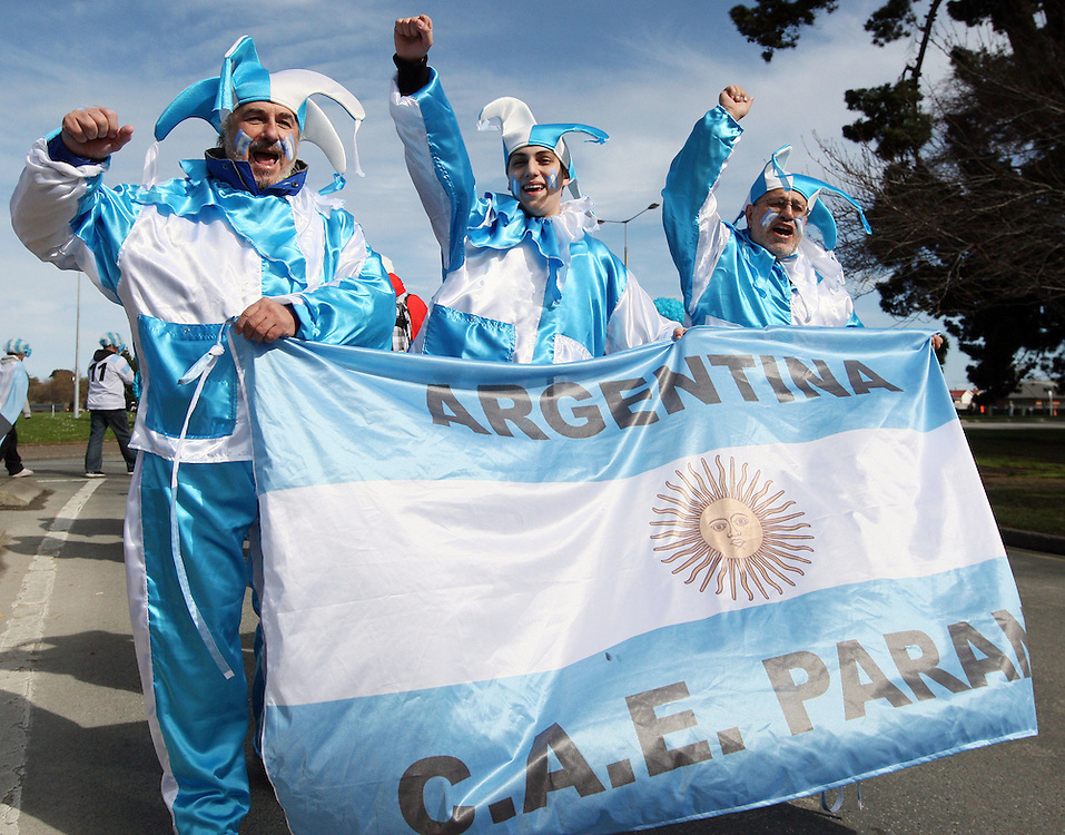Argentina supporters turn out to watch the Rugby World Cup pool match between Argentina and Romania at Rugby Park, Invercargill, New Zealand, Saturday, September 17, 2011. Credit:SNPA / Dianne Manson.