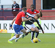 Dundee's Rory Loy takes on Wigan's Denervan Daniels and Andrew Taylor - Dundee v Wigan Athletic - pre season friendly at Dens Park<br /> <br />  - &copy; David Young - www.davidyoungphoto.co.uk - email: davidyoungphoto@gmail.com