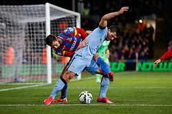 Sergio Aguero of Manchester City is challenged by Joel Ward of Crystal Palace - Photo mandatory by-line: Rogan Thomson/JMP - 07966 386802 - 06/04/2015 - SPORT - FOOTBALL - London, England - Selhurst Park - Crystal Palace v Manchester City - Barclays Premier League.