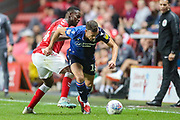 Charlton Athletic forward Jonathan Leko (14) and Nottingham Forest defender Jack Robinson (18) battle for the ball during the EFL Sky Bet Championship match between Charlton Athletic and Nottingham Forest at The Valley, London, England on 21 August 2019.