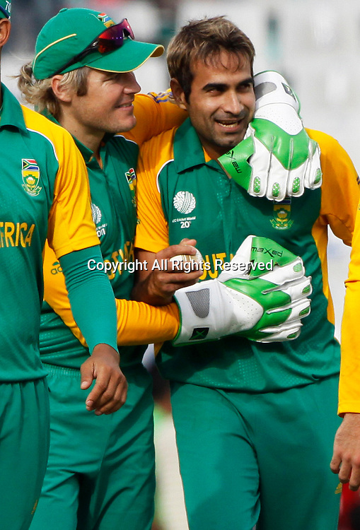 03.03.2011 Cricket World Cup from the Punjab Cricket Association Stadium, Mohali in Chandigarh. West indies v Netherlands. Imran Tahir of South Africa celebrates the wicket of Mudassar Bukhari during the match of the ICC Cricket World Cup against the Netherlands.
