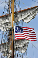 KEVIN BARTRAM/The Daily News.An American flag flies from the tall ship Elissa on Monday, March 27, 2006. The ship sailed from the Port of Galveston as part of annual sea trials.