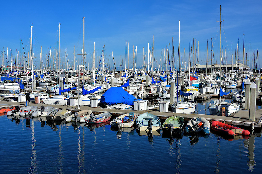 Boats Moored in Marina in Monterey, California<br />