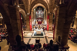 Interior of St Giles Cathedral during Christmas Carol Concert as part of Edinburgh's Hogmanay celebrations at New Year's Eve in Edinburgh, Scotland, united Kingdom