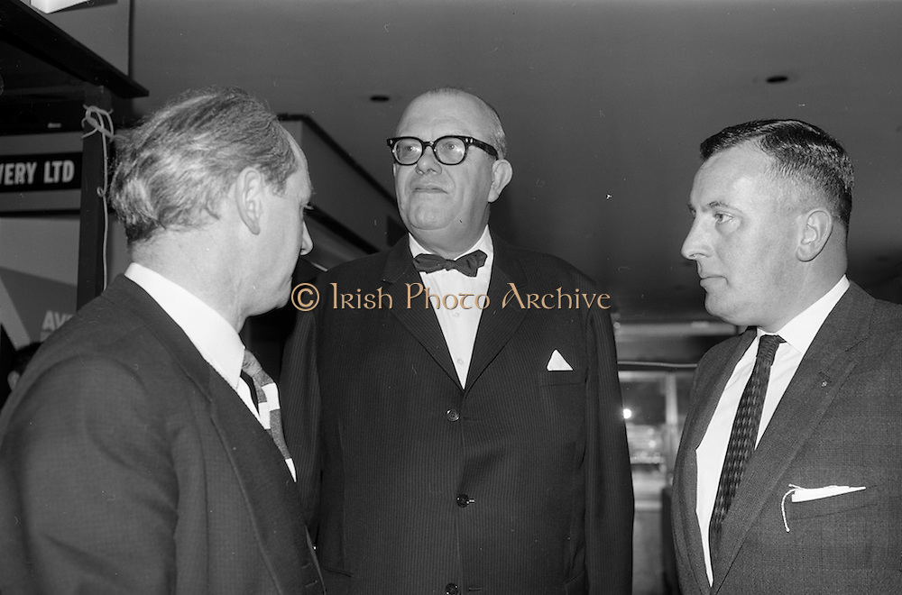 28/04/1964<br /> 04/28/1964<br /> 28 April 1964<br /> Shop Equipment Exhibition Opened at the Intercontinental Hotel, Dublin. Chatting before the opening (l-r): Minister for Industry and Commerce, Jack Lynch T.D.; The Swedish Ambassador, Mr. Nils Erik Ekblad and Mr. G.A. Madden, Vice-President of the Munster branch of the R.G.D.A.T.A..