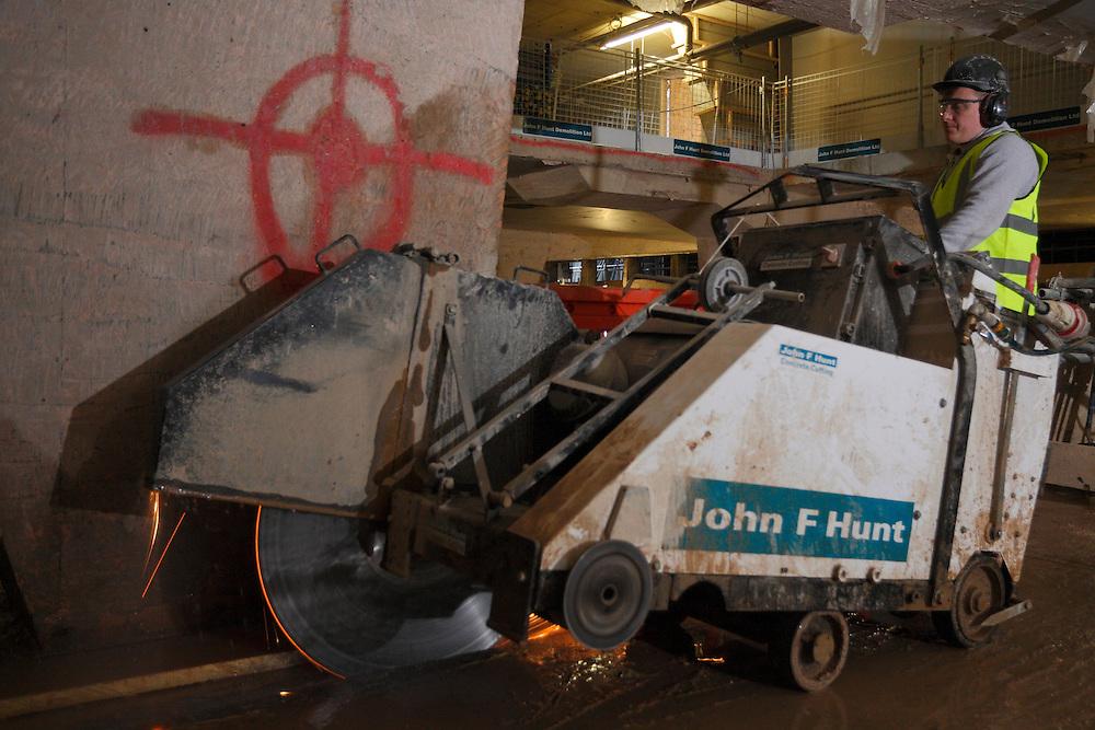 Concrete cutting division. Centre Point. John F Hunt Demolition Site. London January 2016.<br /> <br />  (Photo - Zute Lightfoot)