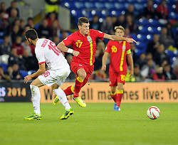 Gareth Bale of Wales (Real Madrid) is fouled by Luka Milivojevic of Serbia (Anderlecht)  - Photo mandatory by-line: Joe Meredith/JMP - Tel: Mobile: 07966 386802 10/09/2013 - SPORT - FOOTBALL - Cardiff City Stadium - Cardiff -  Wales V Serbia- World Cup Qualifier