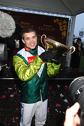 Jockey Sam Thomas winner of the Gold Cup at the 2007 Hennessy Gold Cup held at Newbury racecourse, Berkshire on 1st December 2007.<br />