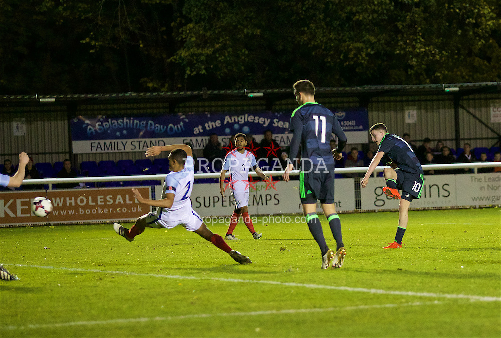 BANGOR, WALES - Saturday, November 12, 2016: Wales' Nathan Broadhead scores the third goal against England during the UEFA European Under-19 Championship Qualifying Round Group 6 match at the Nantporth Stadium. (Pic by Gavin Trafford/Propaganda)