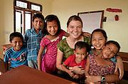Maggie Doyne and the children of Kopila Valley Children's Home, Surkhet, Nepal