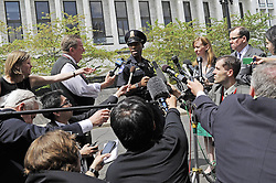 59531006  .U.S. Capitol Police officer Shennell Antrobus briefs the media outside the Hart Senate office building on Capitol Hill in Washington D.C., capital of the United States, April 17, 2013. U.S. Capitol Police on Wednesday evacuated the Hart and Russell Senate office buildings due to a suspicious envelop, Washington D.C., USA, on April 17, 2013, April 18, 2013. Photo by: imago / i-Images. .UK ONLY