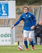 Malte Sjørslev (Holbæk B&I) under kampen i 2. Division mellem Holbæk B&I og FC Helsingør den 20. oktober 2019 i Holbæk Sportsby (Foto: Claus Birch).