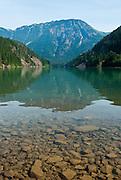 Sourdough Mountain (6120 feet / 1865 meters in North Cascades National Park) rises above Diablo Lake in Ross Lake National Recreation Area, Washington, USA.