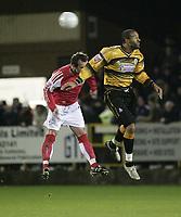 Photo: Barry Bland.<br />Boston United v Swindon Town. The FA Cup. 16/11/2005.<br />Julian Joachim and Steve Jenkins.