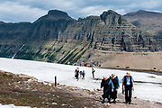 Amish couples from Lancaster County Pennsylvania hiking Hidden Lake trail and Logan Pass at Glacier National Park