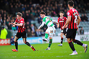 Yeovil Town's Josh Sheehan watches his shot  hit the cross bar during the Sky Bet League 2 match between Yeovil Town and Oxford United at Huish Park, Yeovil, England on 28 December 2015. Photo by Graham Hunt.