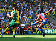 Yannick Bolasie whacks a shot during the Barclays Premier League match between Norwich City and Crystal Palace at Carrow Road, Norwich, England on 8 August 2015. Photo by Craig McAllister.