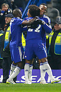 Willian of Chelsea celebrates scoring the opening goal against Watford with Ramires of Chelsea (left) and Didier Drogba of Chelsea (right) during the FA Cup match at Stamford Bridge, London<br /> Picture by David Horn/Focus Images Ltd +44 7545 970036<br /> 04/01/2015
