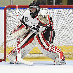 WHITBY, ON - SEP 22,  2016: Ontario Junior Hockey League game between Georgetown and Whitby, Jett Alexander #35 of the Georgetown Raiders protects the crease during the third period.<br /> (Photo by Andy Cornea / OJHL Images)