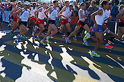 (4L) Yared Shegumo and (5L) Blazej Brzezinski and (3R) Henryk Szost all from Poland compete in men's marathon on the start line during the Sixth Day of the European Athletics Championships Zurich 2014 at Letzigrund Stadium in Zurich, Switzerland.<br /> <br /> Switzerland, Zurich, August 17, 2014<br /> <br /> Picture also available in RAW (NEF) or TIFF format on special request.<br /> <br /> For editorial use only. Any commercial or promotional use requires permission.<br /> <br /> Photo by &copy; Adam Nurkiewicz / Mediasport