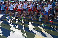 (4L) Yared Shegumo and (5L) Blazej Brzezinski and (3R) Henryk Szost all from Poland compete in men's marathon on the start line during the Sixth Day of the European Athletics Championships Zurich 2014 at Letzigrund Stadium in Zurich, Switzerland.<br /> <br /> Switzerland, Zurich, August 17, 2014<br /> <br /> Picture also available in RAW (NEF) or TIFF format on special request.<br /> <br /> For editorial use only. Any commercial or promotional use requires permission.<br /> <br /> Photo by © Adam Nurkiewicz / Mediasport