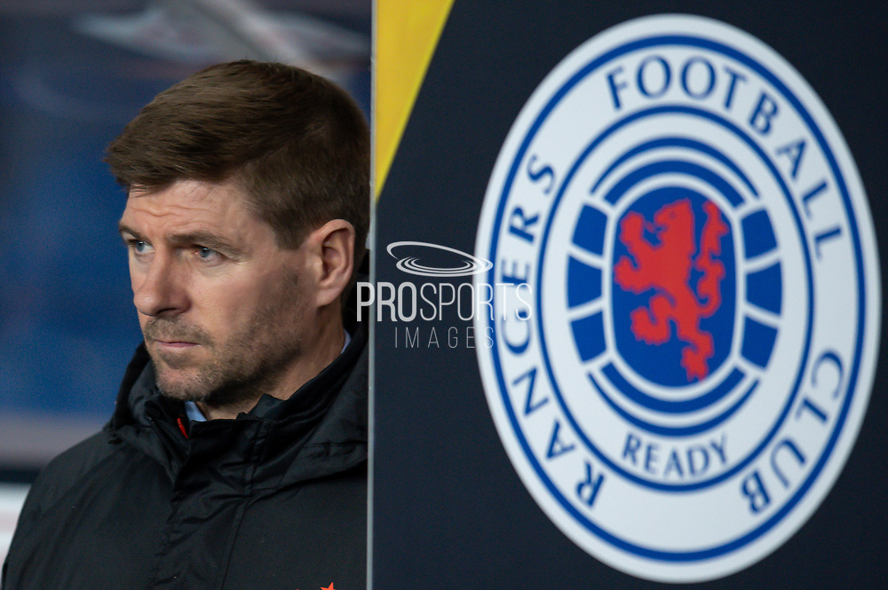 Steven Gerrard, manager of Rangers FC before the Europa League Group G match between Rangers FC and BSC Young Boys at Ibrox Park, Glasgow, Scotland on 12 December 2019.