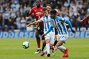 Huddersfield Town midfielder Jonathan Hogg (6) and Huddersfield Town midfielder Juninho Bacuna (7) in action during the Premier League match between Huddersfield Town and Manchester United at the John Smiths Stadium, Huddersfield, England on 5 May 2019.