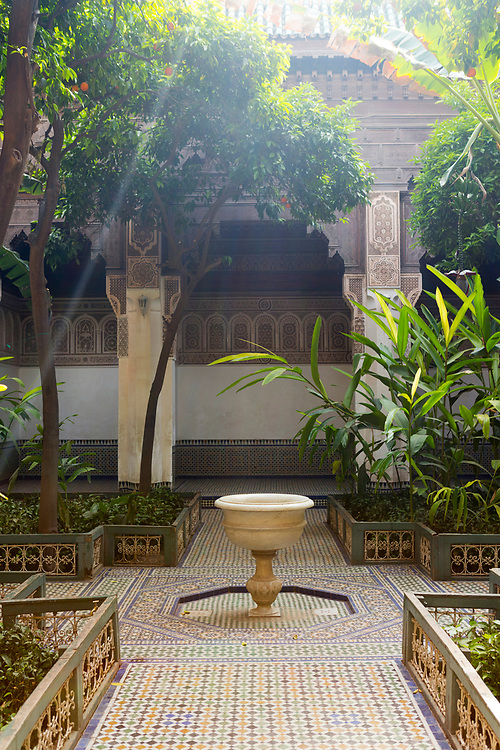 Bahia Palace riad garden courtyard space, Marrakesh, Morocco, 2016–04-21.