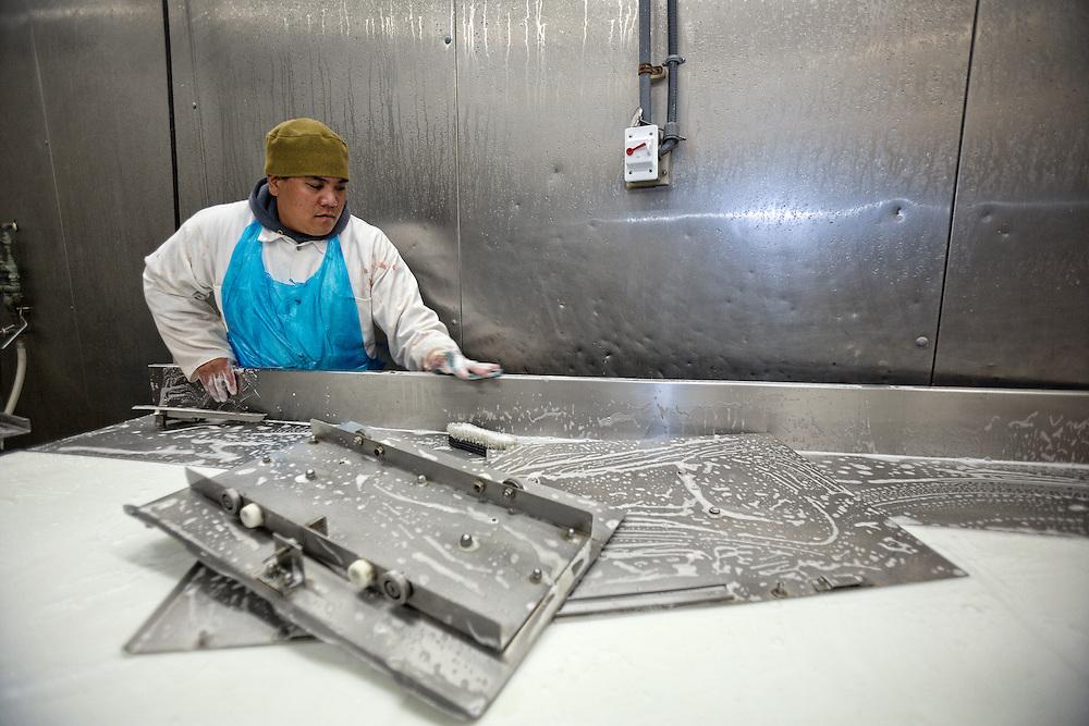 Randy Cabreros, 39 disinfects processing area at the Molokai Livestock Co-op in Ho'olehua, Molokai.  10.14.15