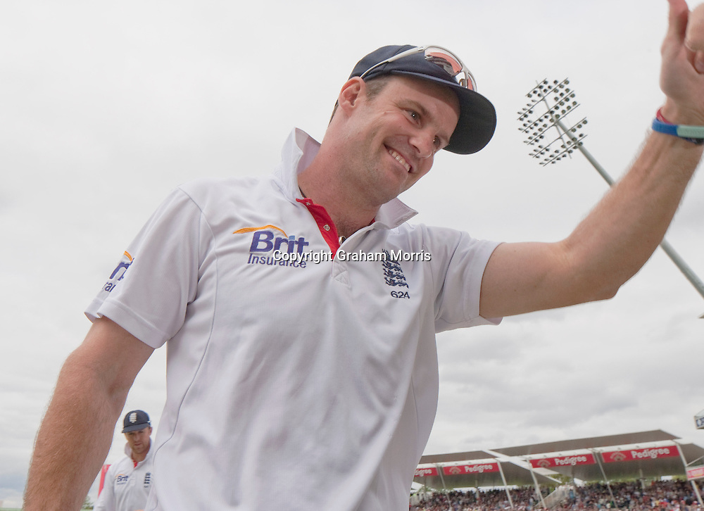 England captain, Andrew Strauss, waves to the crowd after winning the third npower Test against India at Edgbaston, Birmingham to become the number one Test Match country in the world.  Photo: Graham Morris (Tel: +44(0)20 8969 4192 Email: sales@cricketpix.com) 13/08/11