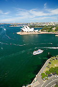 Aerial view of the Sydney Opera House and Dawes Point Reserve (foreground). Sydney, Australia